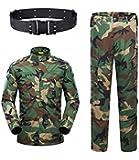 KYhao Traje táctico Militar de Camuflaje para Hombre, Caza, Combate BDU, Camisa Uniforme y Pantalones con cinturón para Tiro, Caza, Juego de Guerra, Airsoft, Paintball