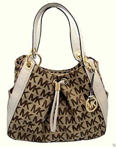 Michael Kors Ludlow Handbag (MK Print/White) by Michael Kors