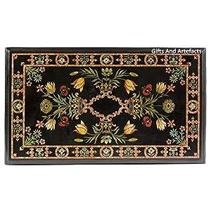 Gifts and Artefacts, tavolo rettangolare nero intarsiato da tavolo da pranzo intarsiato, può essere utilizzato in mobili da giardino, dimensioni: 36 x 183 cm 2 spesavip