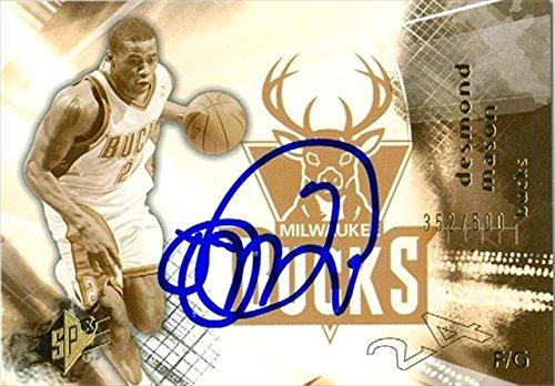 Autograph Warehouse 41973 Desmond Mason Autographed Basketball Card Milwaukee Bucks 2004 Spx No. 47 (Mason Autographed Basketball)