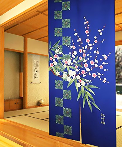 Retro Traditional Blue Background Chinese Pine Tree Bamboo Plum Flower Pattern Door Curtain Children Room Curtain 85cm By 150cm