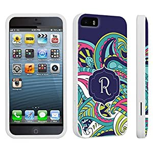 DuroCase ? Apple iPhone 5 / iPhone 5s Hard Case White - (Mint Flower Monogram R)