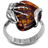 Sterling Silver Amber Insect Designer Ring