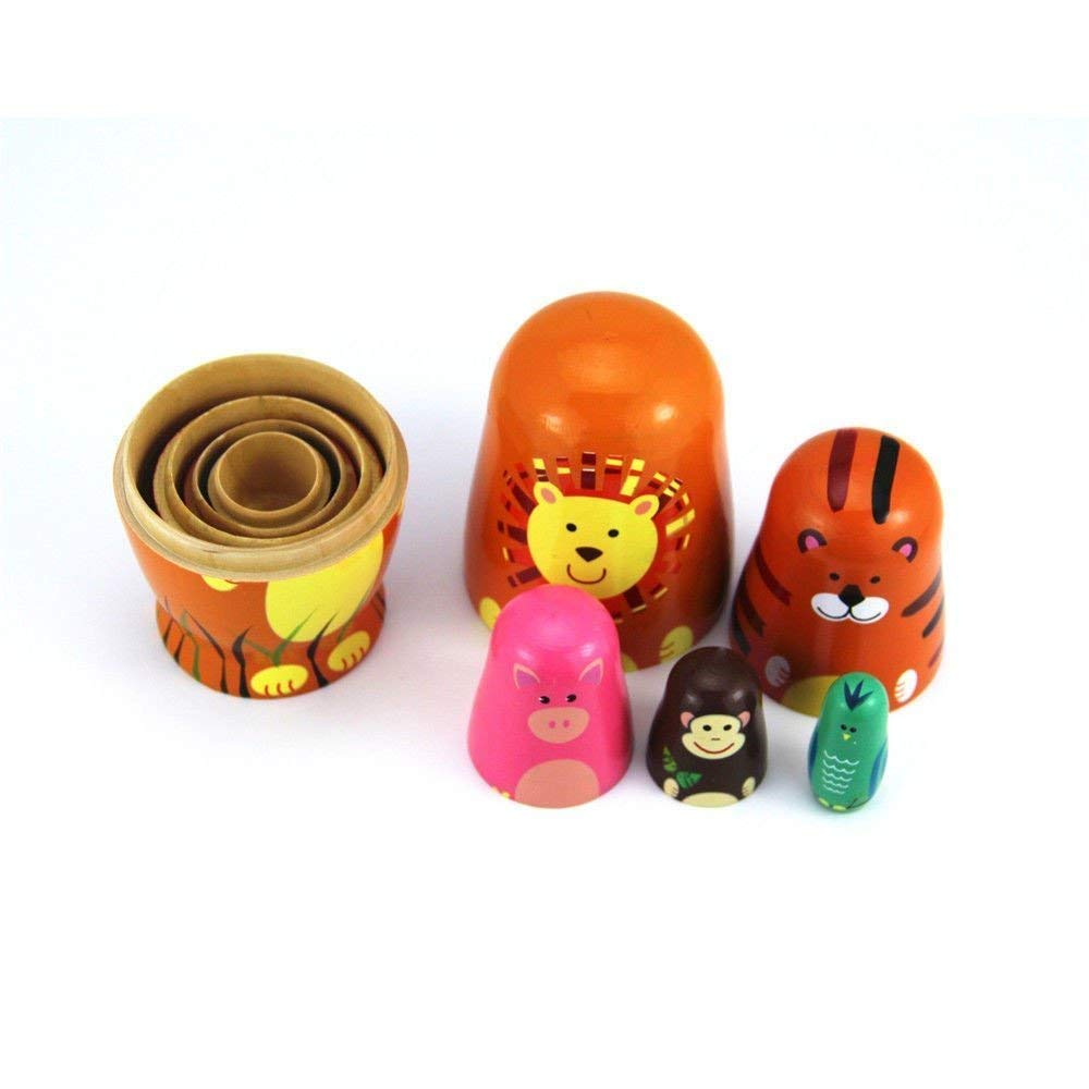 Maxshop 5 Pieces 6'' Tall Cute Nesting Dolls Matryoshka Doll Russian Matryoshka Doll Handmade Wooden Dolls Cartoon Animals Pattern Toy Gift by Maxshop (Image #7)