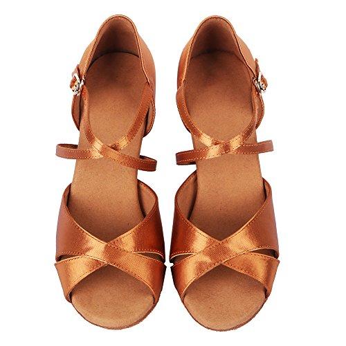 AF Satén Marrón 4060 modelo Ballroom Zapatos estándar baile Mujer de SWDZM latinos qa4AAz