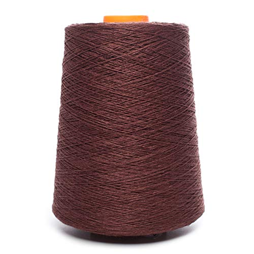 Linen Yarn Cone - 100% Flax Linen - 1 LBS - Chocolate Brown Color - 3 PLY - Sewing Weaving Crochet Embroidery - 3.000 Yard