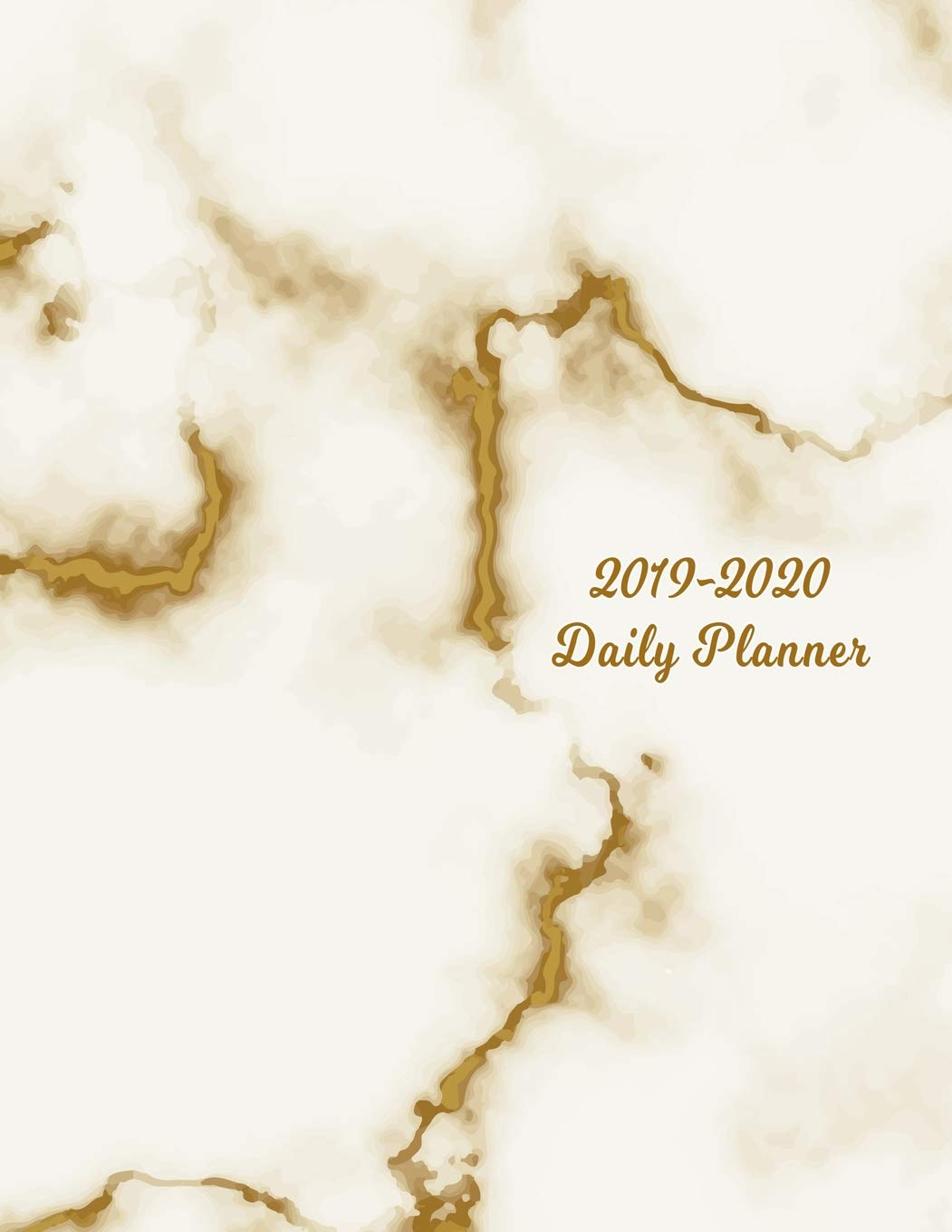 2019 - 2020 Daily Planner: White & Brown Marble Cover | Full ...