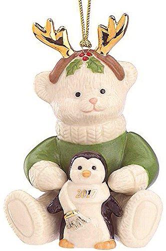 Lenox Christmas 2017 Teddy's Penguin Pal Ornament Teddy Bear holding penguin Cute