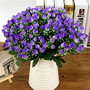 GSD2FF 1 Bouquet 36 Head Small Bud Roses Simulation Flowers Silk Rose Decorative Flowers Home Decorations for Wedding 65