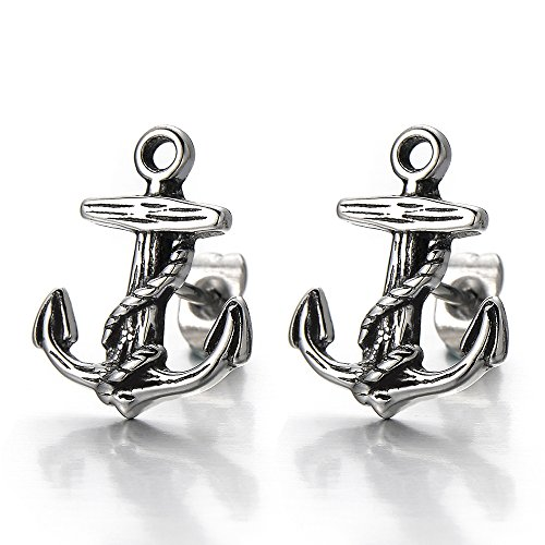 Vintage Style Stainless Steel Anchor Stud Earrings for Man and Women, 2pcs by COOLSTEELANDBEYOND