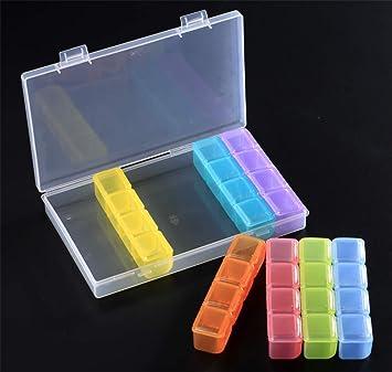 Caja de almacenamiento de diamantes 5D, caja de plástico ajustable con 28 cuadrículas, ideal