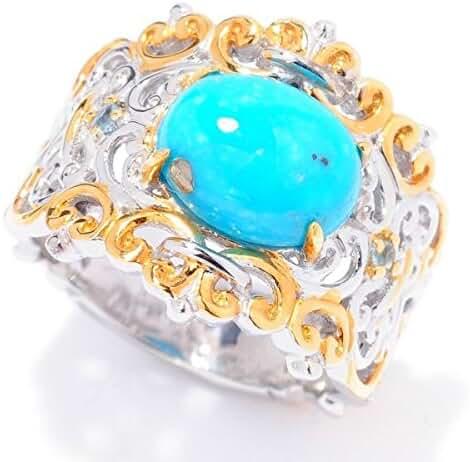 Michael Valitutti Palladium Silver Kingman Turquoise & Swiss Blue Topaz Filigree Ring