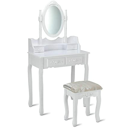 Enjoyable Amazon Com White Vanity Wood Makeup Dressing Table Stool Caraccident5 Cool Chair Designs And Ideas Caraccident5Info