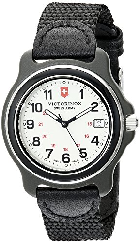 Swiss Army Date Wrist Watch - Victorinox Men's 249089 Original Black Watch with Nylon Band