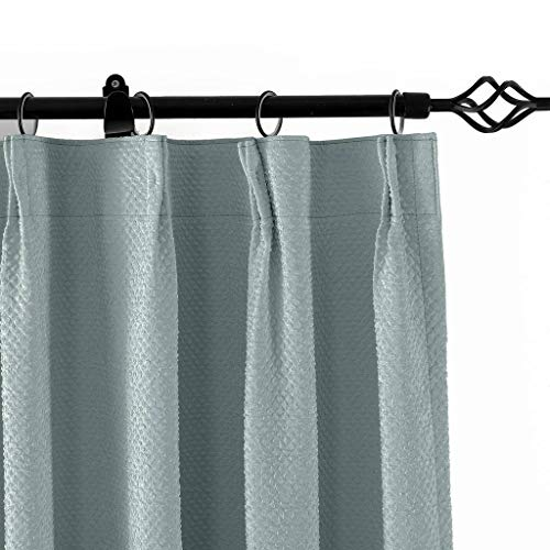 Cheap TWOPAGES Pinch Pleated 50″ W x 102″ L Jacquard Circle Window Curtain Drapery, Gray Bubble Wrinkle (1 Panels), for Traver Rod or Track