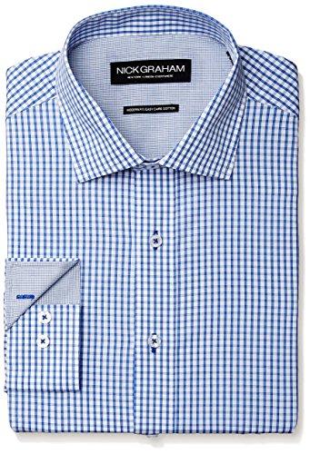 Nick Graham Men's Windowpane Check Poplin Dress Shirt, Blue, 14