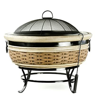 Micro World Magnesia Rattan Wicker Fire Pit - MW1598 - Wood burning fire pit made of high quality magnesia Completely weather proof and extremely durable Same look and feel of rattan wicker - patio, fire-pits-outdoor-fireplaces, outdoor-decor - 51Qxm6zggAL. SS400  -