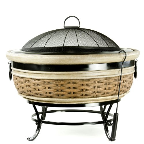 Micro world magnesia rattan wicker fire pit mw1598 for Cane and wicker world