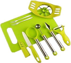 Case of 50,8-in-1 Fruit Tools Set DIY Fruit Knife Kits for Multi-Use Melon Baller Scoop, Carving Knife, Apple Slicer, Fruit Peeler, Fruit Knife, Seed Remover, Fruit Fork and Cutting Board