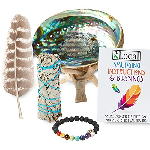 JL Local White Sage Smudging Kit Smudge Stick Gift Kit + Instructions & Blessings (Beginner