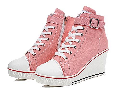 Mauea de Al Cu Mujer Zapatos Casuales Para as Libre Rosa Calzado Transpirable De Top Encaje Hebilla Aire Lona Zapatos Lona High Deportes rwUtOr