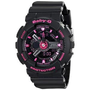 51QxmYh7wwL. SS300  - Casio Women's BA-111-1ACR Baby-G Analog-Digital Display Quartz Black Watch