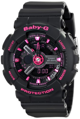 Casio Women's BA-111-1ACR Baby-G Analog-Digital Display Quartz Black Watch (Neon Awesome Clock)
