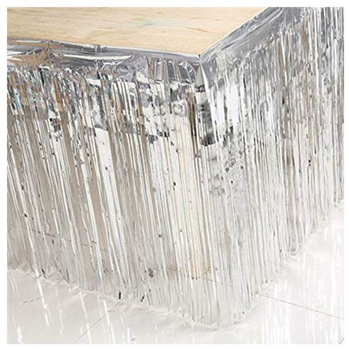 (ShinyBeauty Foil Fringe Skirt-29x108-Inch-Silver,Shimmer Foil Fringe Curtain,Metallic Party Fringed Table)