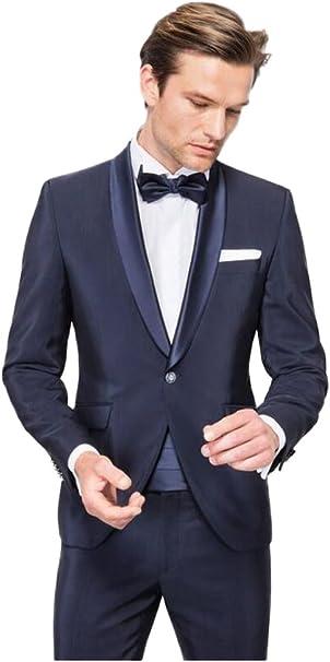 Amazon.com: Traje de boda azul marino con solapa para hombre ...