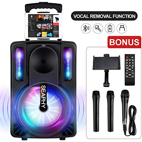 Karaoke Machine with Vocal Removal Function for Kids & Adults, SEAPHY DJ Lights 10'' Woofer BT Connectivity Rechargeable PA System-Audio Recording, Remote/2Wireless/1Wired Microphone/Tablet Holder