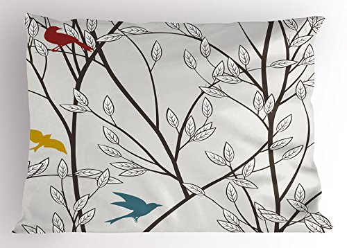 Ambesonne Nature Pillow Sham, Birds Wildlife Cartoon Like Image with Tree Leaf Art Print, Decorative Standard Size Printed Pillowcase, 26 X 20 Inches, Grey Maroon Blue and Mustard Yellow
