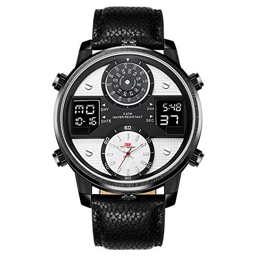 Men's Digital Sports Watch, Stylish Big Face Dial, Timed Alarm Clock, Chronograph Stopwatch LED Luminous Display,Classic Italian Leather Strap, 50 Meters Waterproof Watch. (A1-White)