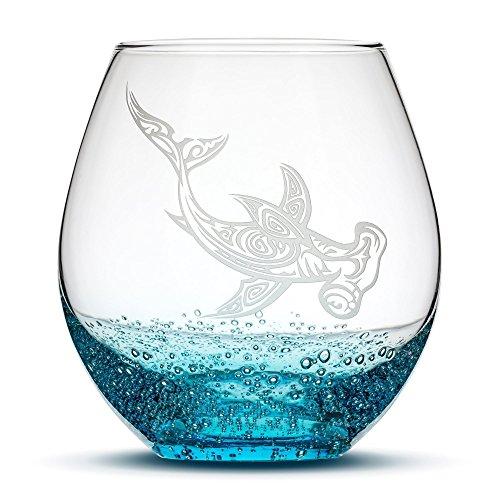 Etched Bottle - Bubbly Turquoise Wine Glass - Hand Etched Tribal Hammerhead Shark Design - Sand Carved by Integrity Bottles