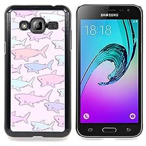 Eason Shop / Premium SLIM PC / Aliminium Casa Carcasa Funda Case Bandera Cover - Dibujo púrpura rosado azul - For Samsung Galaxy J3 GSM-J300