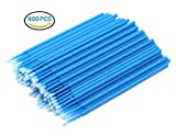 Hillento 400 PCS Disposable Cotton Swabs, Eyelash Extension Disposable Tattoo Makeup Brushes Cotton Swabs Stick with Plastic Handle, Blue