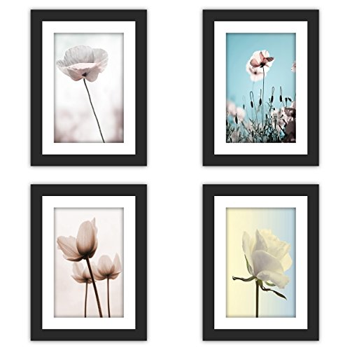 4x Real Glass Wood Frame Black Fit 5x7