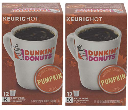 Dunkin' Donuts Pumpkin Spice Coffee ground single serve capsules for Keurig K-Cup pod brewers, 24 Count