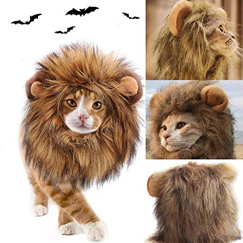 Halloween Lion Mane for Cat Pet Dog, Lion Wig Pet Cosplay Costume Doggie Fancy Hair for Cat Small Dog Kittens Puppy Cosplay Apparel Wild Animals' ()