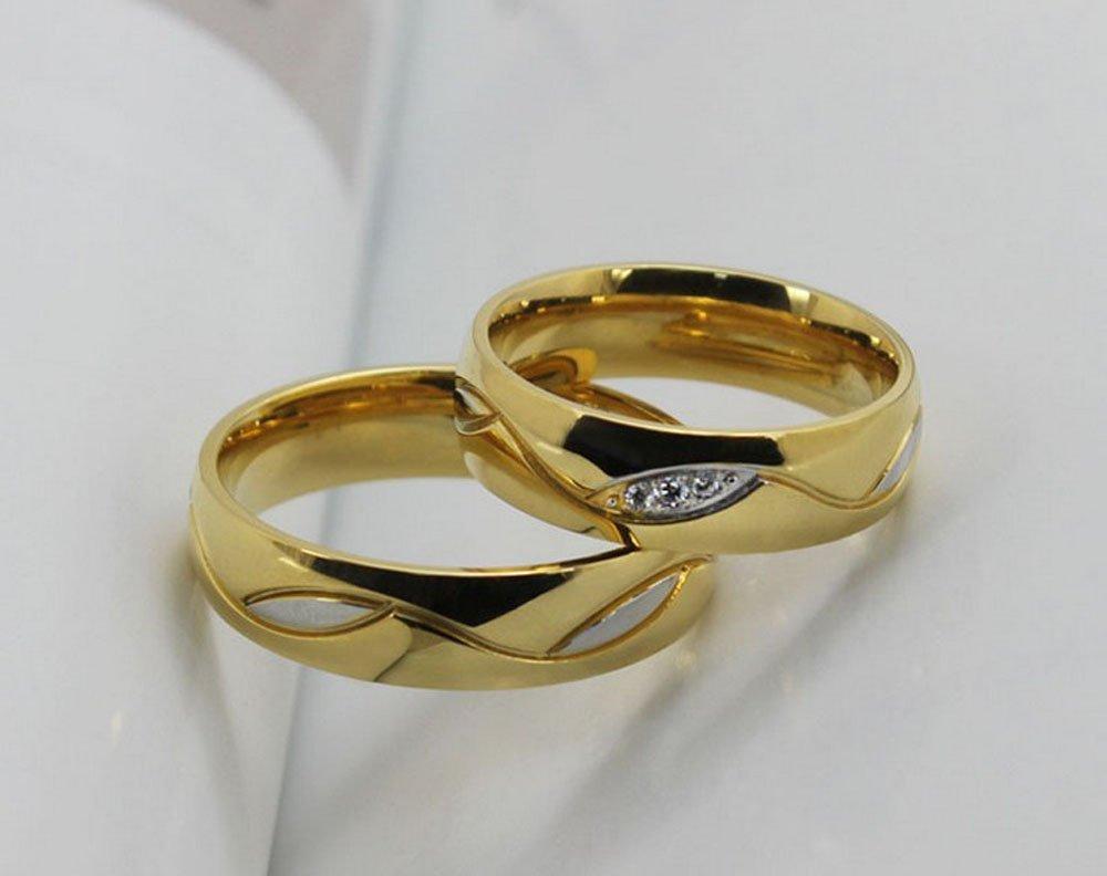 Amazon.com: weidan jewelry Los Nuevos Anillos De Los Anillos De Pareja De Boda Anillos De Compromiso Oro Al Por Mayor 025 (7, Men): Home & Kitchen