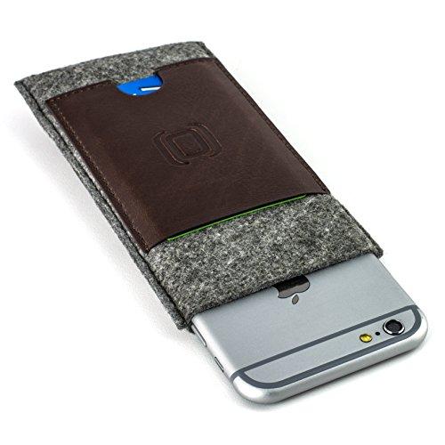 Dockem Filz Hülse für iPhone und Karte - iPhone 7, 6S und 6-Sleeve mit Brieftaschenfunktion- Minimalistische Vintage-Schutzhülle aus Filz und Kunstleder - mit 2 Einschüben für Karten