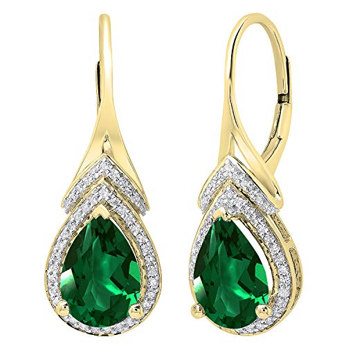 Dazzlingrock Collection 14K 10X7 MM Each Pear Lab Created Emerald & Round Diamond Ladies Drop Earrings, Yellow Gold ()