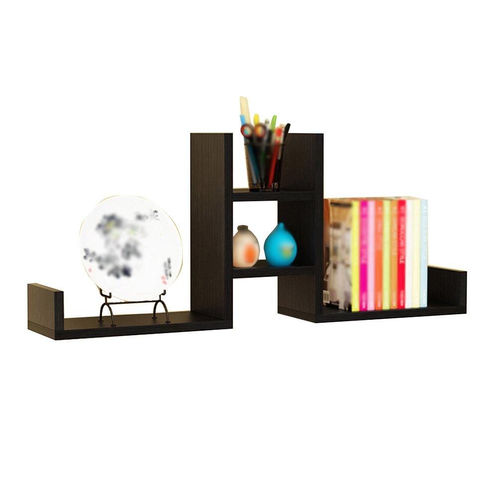 ZfgG 4 Tier Floating Wall Shelf, Living Room Hallway Wooden Display Rack Home Storage Rack - 100cm Long (Color : Black)