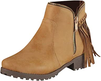 Womens Low Flat Heels Round Toe Casual Boots Zipper Ankle Booties Shoes Size US