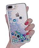 Liquid Glitter iPhone 7 Plus Case, Hard Back Colorful Bling Quicksand with ios icon Apple APP Shine Phone Case for iPhone 8 Plus (Gold Glitter, iPhone 7 Plus / 8 Plus)