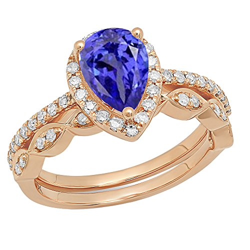 Dazzlingrock Collection 14K 9X6 MM Pear Tanzanite & Round Diamond Ladies Halo Engagement Ring Set, Rose Gold, Size 5