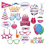 LUOEM 22pcs Birthday Photo Booth Props DIY Kit Happy Birthday Party Decorations Supplies Favors