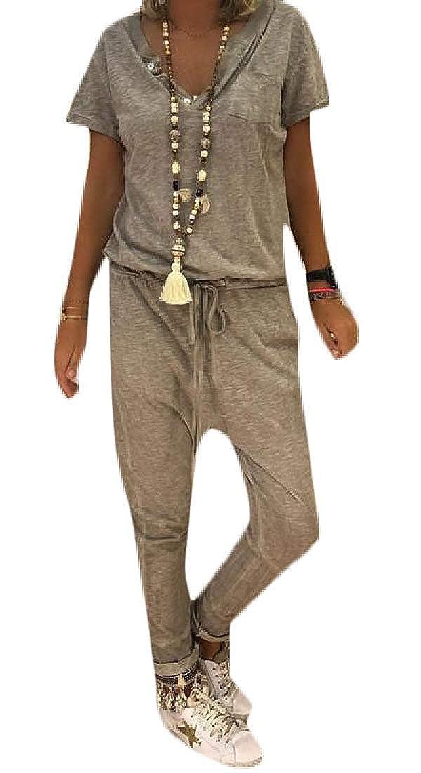 Big Tang Women V Neck Short Sleeve Bodysuit Summer Tie-Waist Jumpsuit