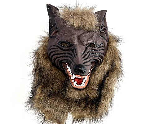 IRQ Latex Halloween Wolf Masks Costume Party Scary Mask with Hair (Wolf Masks For Adults)