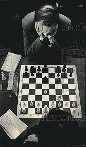 Vintage Photos 1986 Press Photo Scott Kittsley studied the chess board at Milwaukee tournament