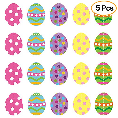 (KUUQA 5 Pack Easter Eggs Hanging String Decoration Ceiling Decoration for Easter Party Supplies)